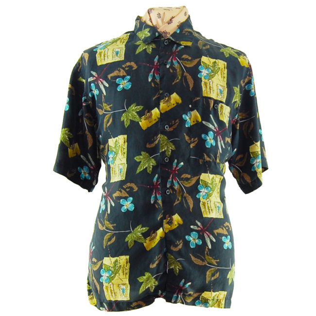 90s Dark Nature Silk Shirt