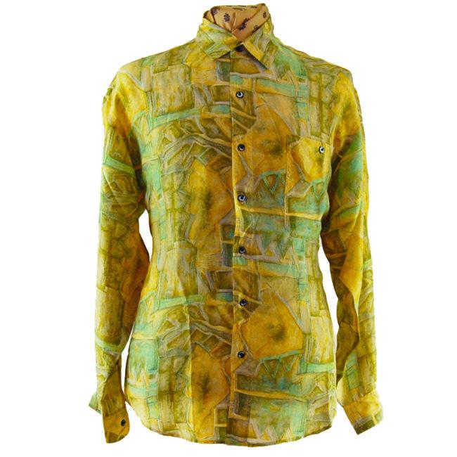 90s Green Abstract Landscape Silk Shirt
