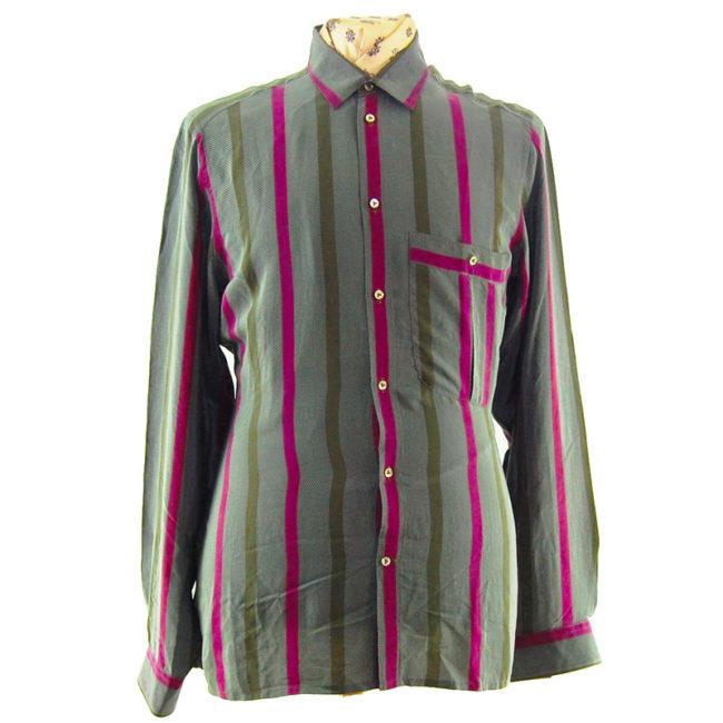 90s Grey Large Pinstripe Silk Shirt