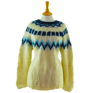 90s Large Knit Cream And Blue Jumper