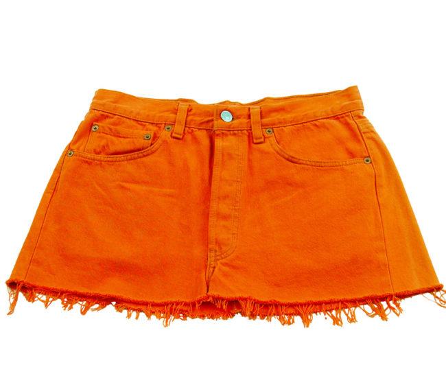 90s Levis Bright Orange Mini Skirt