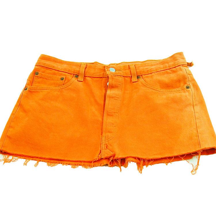 90s Levis Tangerine Coloured Mini Skirt