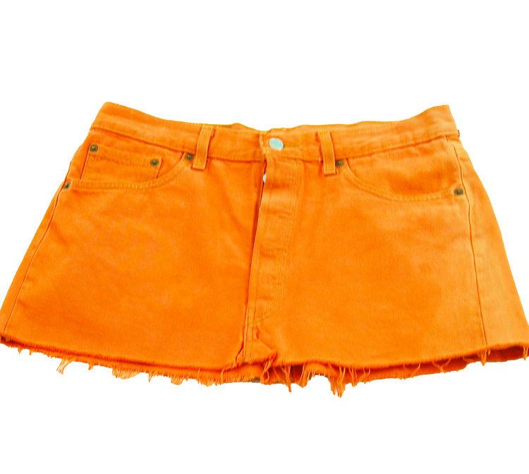 90s Orange Dyed Denim Skirt