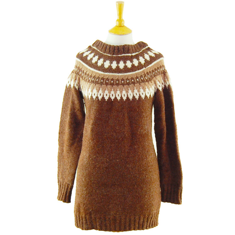 90s Oversized Brown Pure Wool Jumper
