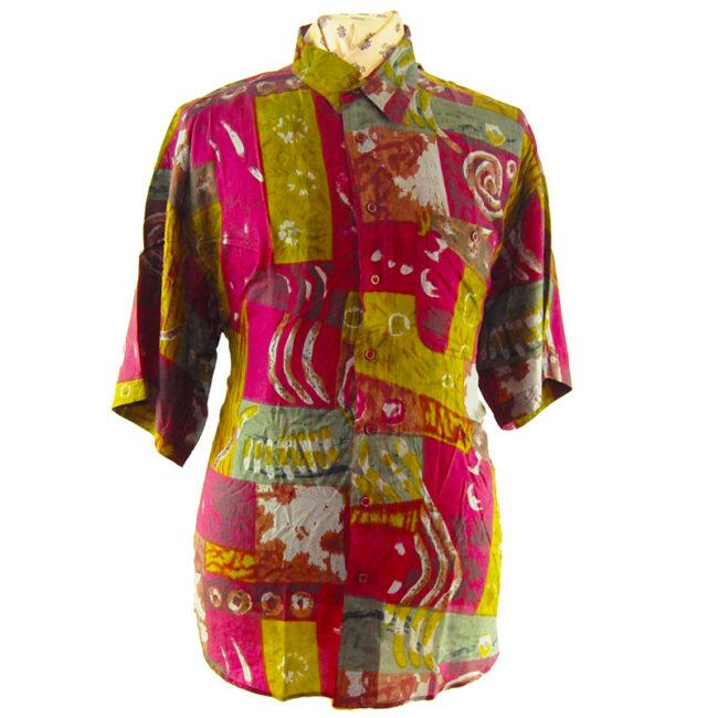 90s Paint Swirl Burgundy Silk Shirt