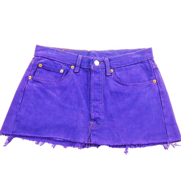 90s Purple Frayed Levis Mini Skirt