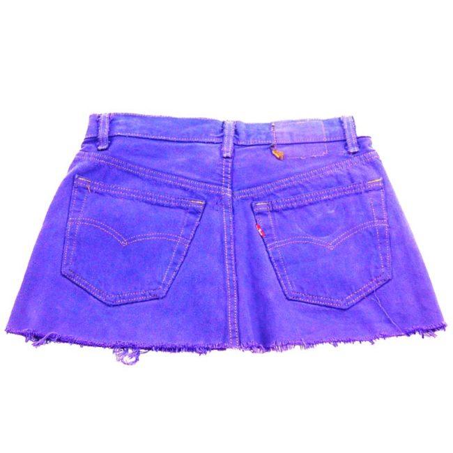 back of 90s Purple Frayed Levis Mini Skirt