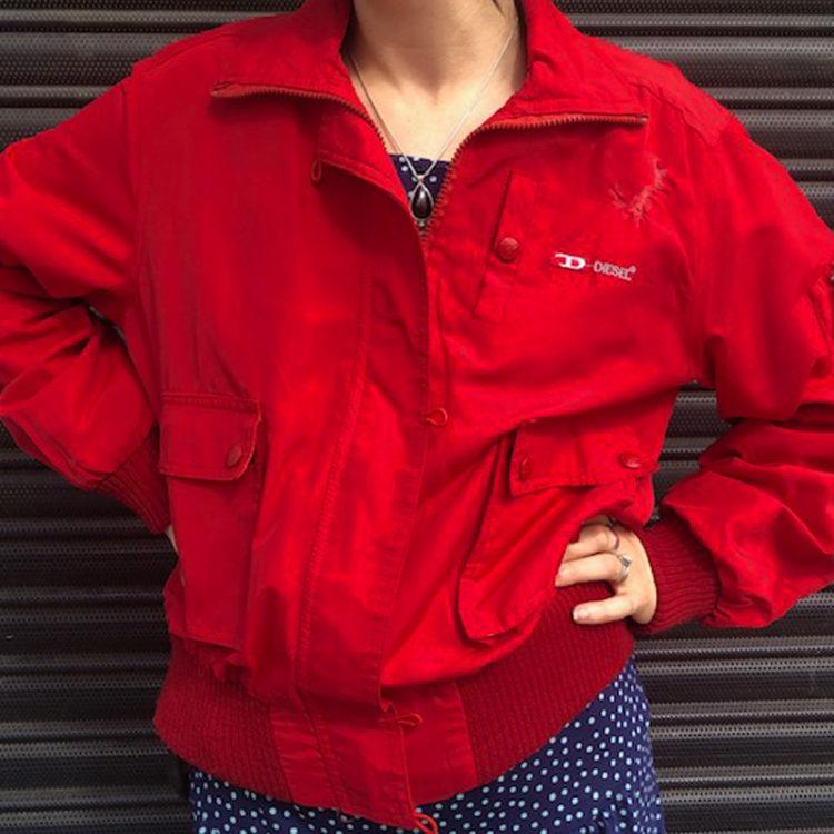 90s Red Diesel Waterproof Jacket