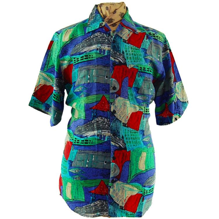 90s Seaside Landscape Silk Shirt