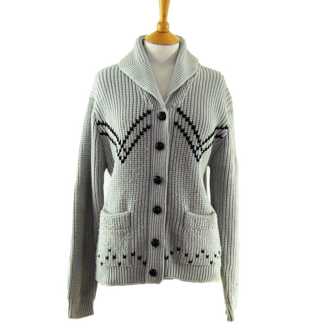 90s Thick Knit Grey Cardigan