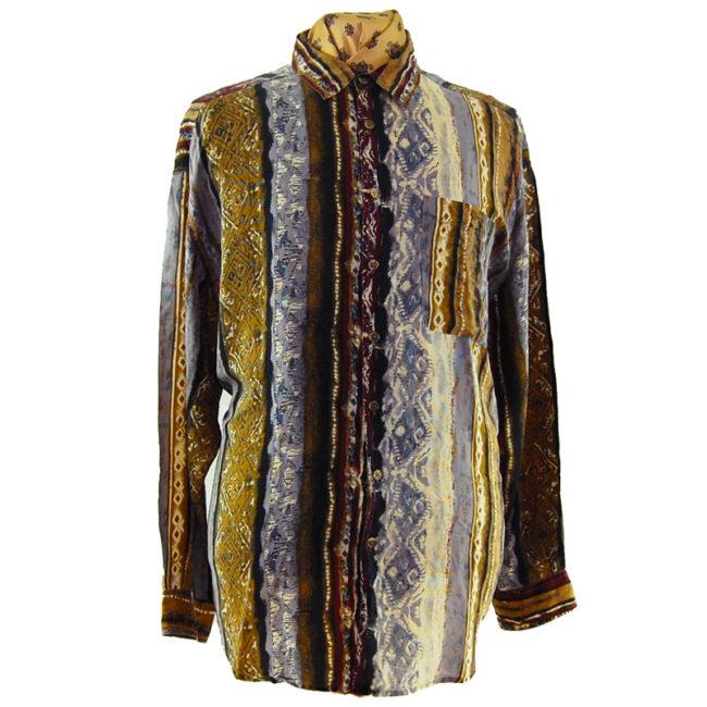 90s Vertical Multi-Pattern Silk Shirt