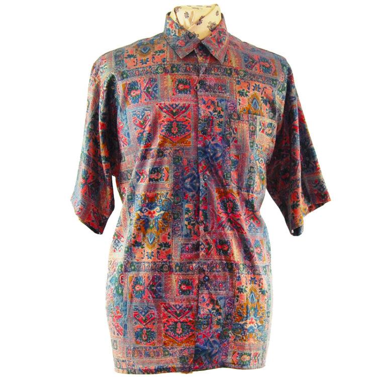90s Vintage Burgundy Silk Shirt