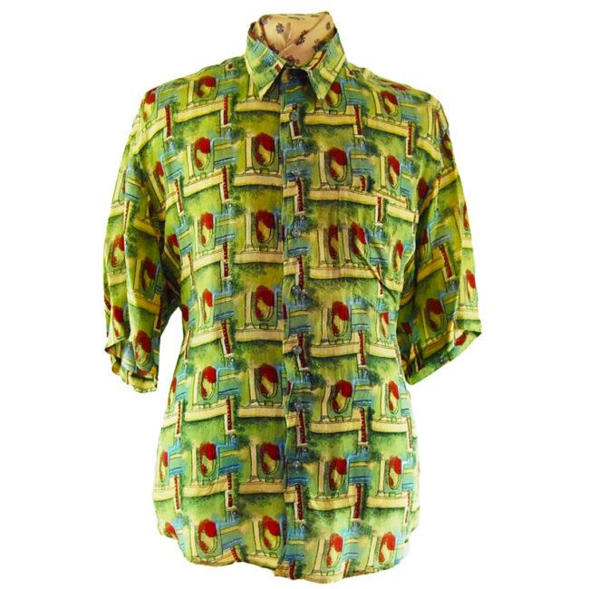 90s Vintage Green Patterned Silk Shirt