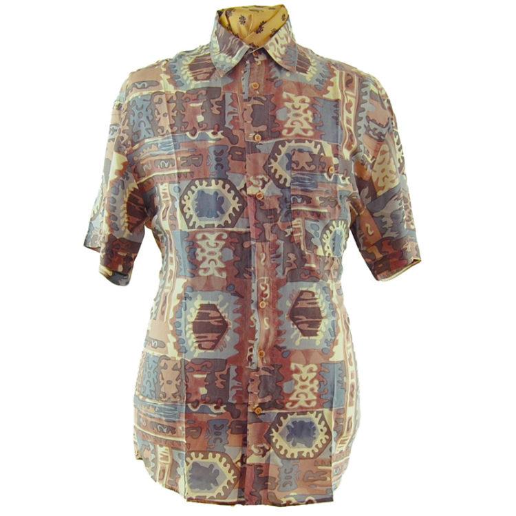90s Watercolor Aztec Print Silk Shirt