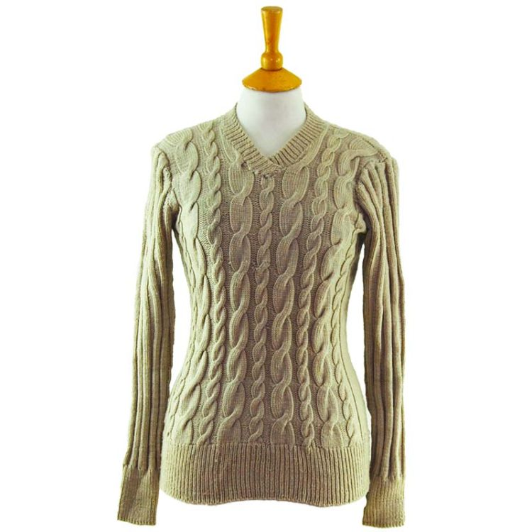 90s Womens Slim Fit Beige Jumper