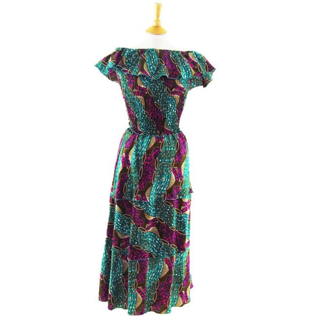 Colorful Ethnic Print Bandeau Dress