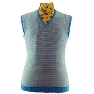 70s Blue And Cream Square Knit Vest