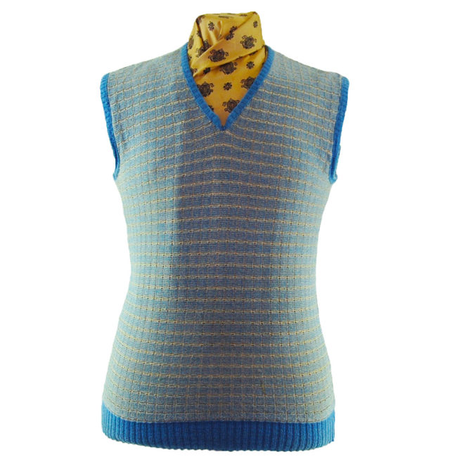 70s Blue And Cream Square Knit Vest