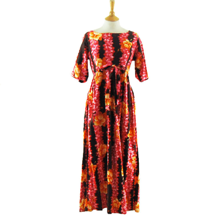 Detailed Hibiscus Flower Maxi Dress
