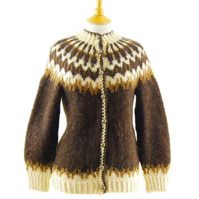 European Brown Pure Wool Cardigan