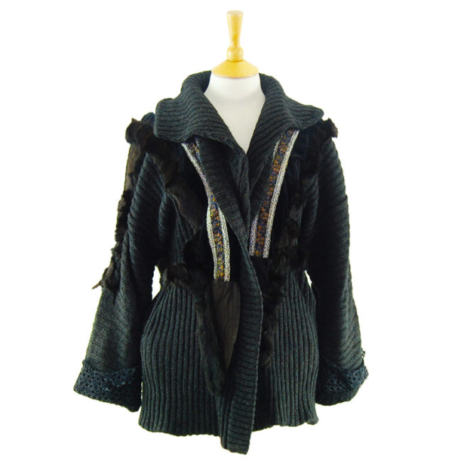 Ladies Rabbit Fur And Suede Cardigan