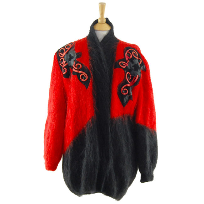 Ladies Red And Black Mohair Cardigan