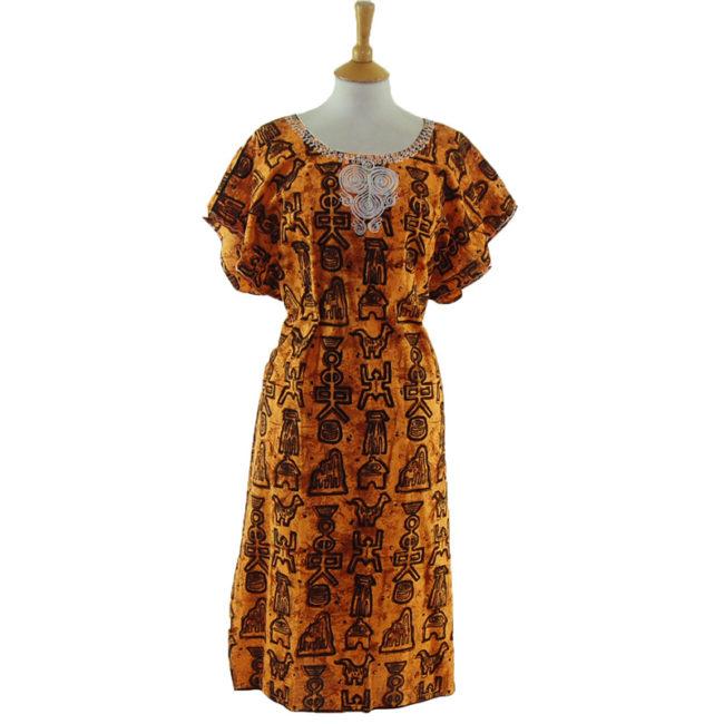 Loose Fit Egyptian Print MuuMuu Dress