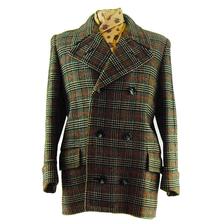 Mens Double Breasted Checkered Pea Coat