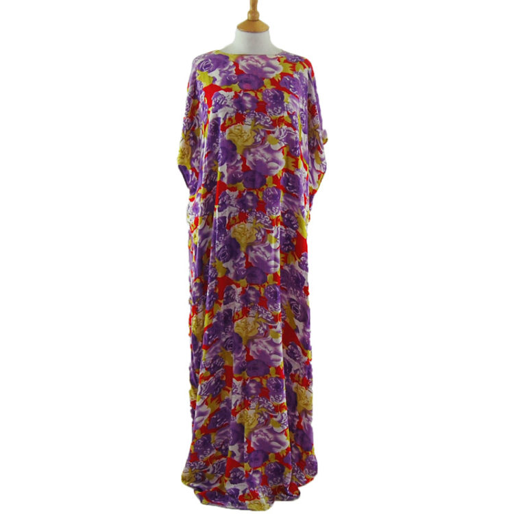 Purple Bat Wing Flowy Dress