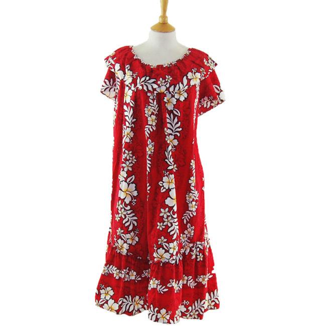 Red Hawaiian Bandeau Vintage Dress