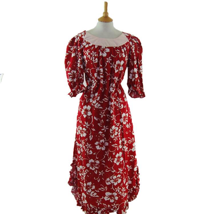 Red Hawaiian Print MuuMuu Dress