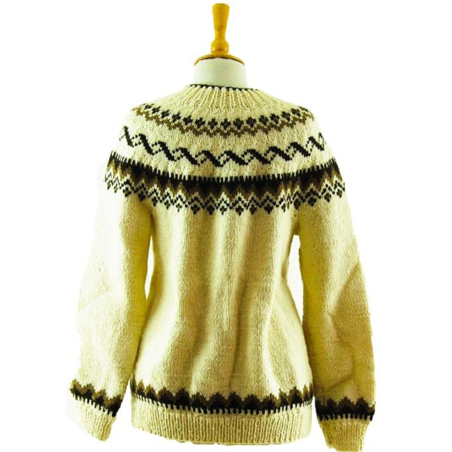 back of 80s Brown And Cream Cardigan