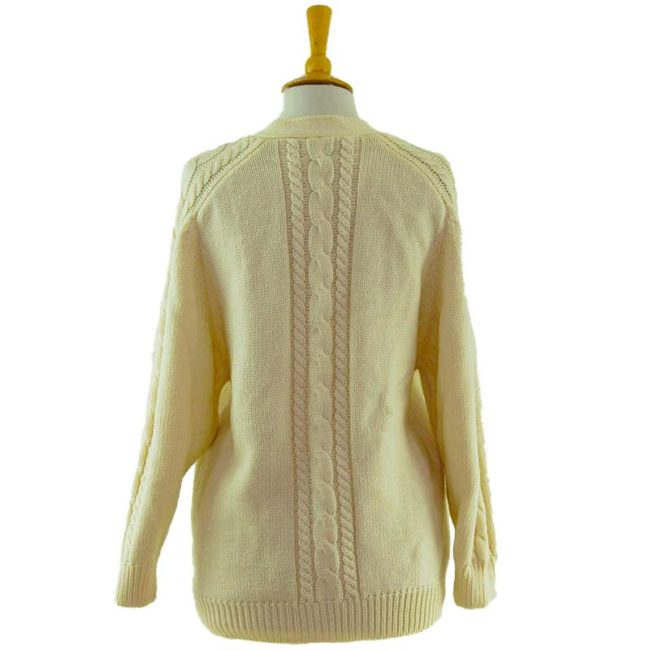 back of 80s Cream Grandad Cardigan