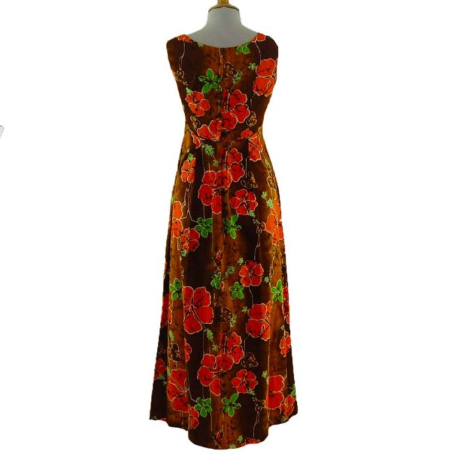 back of 70s Authentic Hawaiian Summer Dress