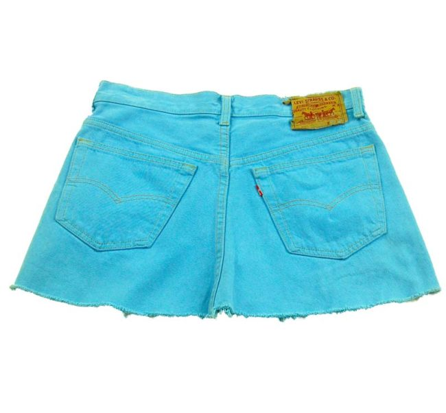 back of 90s Baby Blue Denim Mini Skirt