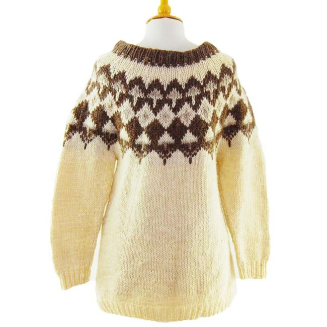 back of 90s Cream And Brown Jumper