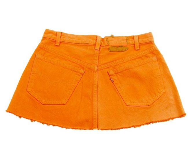 back of 90s Levis Burnt Orange Mini Skirt