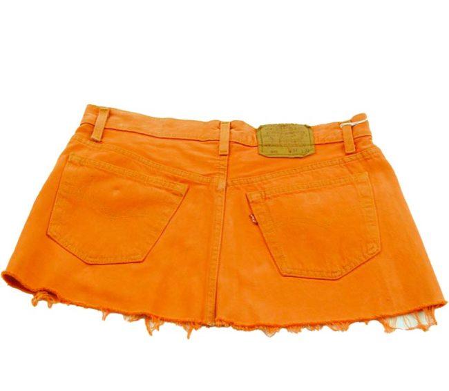 back of 90s Levis Orange Jean Skirt