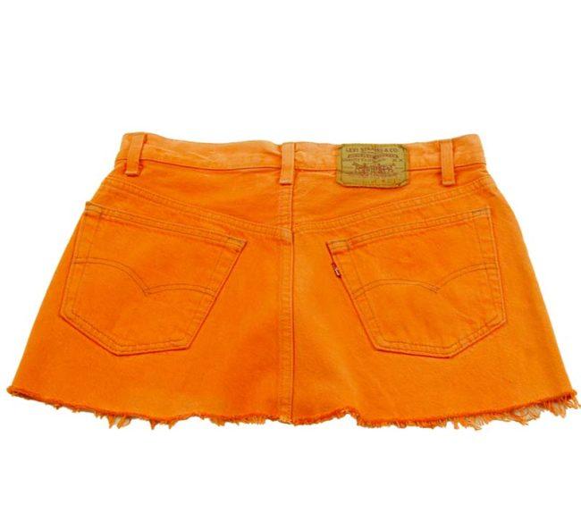back of 90s Levis Tangerine Coloured Mini Skirt