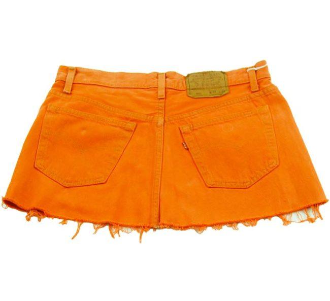 back of 90s Orange Dyed Denim Skirt