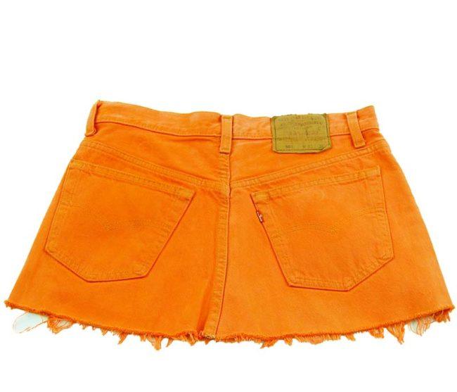 back of 90s Orange Levis Low Rise Skirt