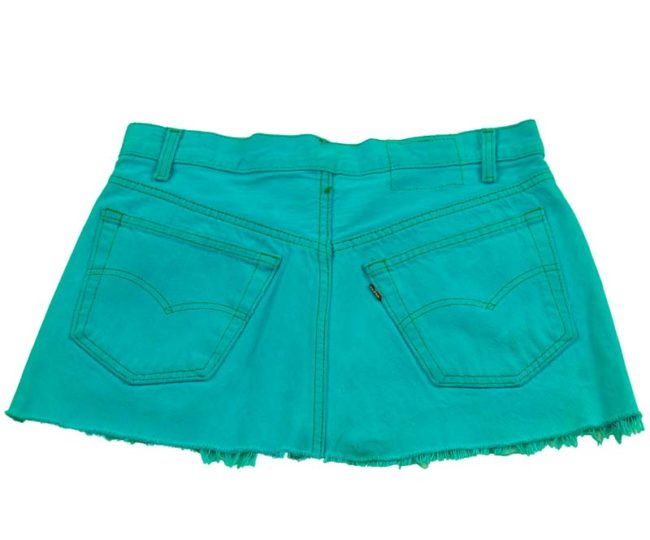 back of 90s Vibrant Blue Low Rise Skirt