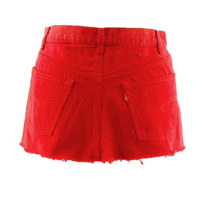 back of Levis 90s Bright Red Denim Skirt