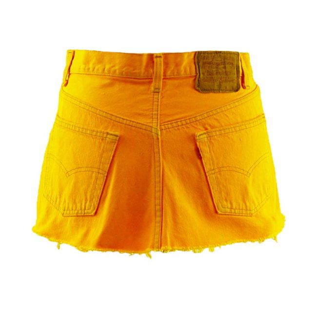 back of Levis 90s Canary Yellow Skirt