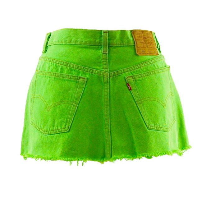 back of Levis 90s Neon Lime Green Skirt