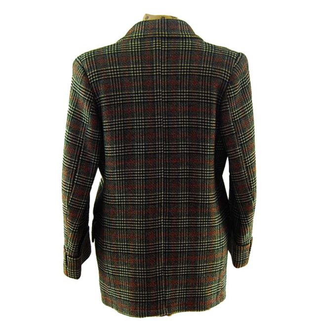 back of Mens Double Breasted Checkered Pea Coat