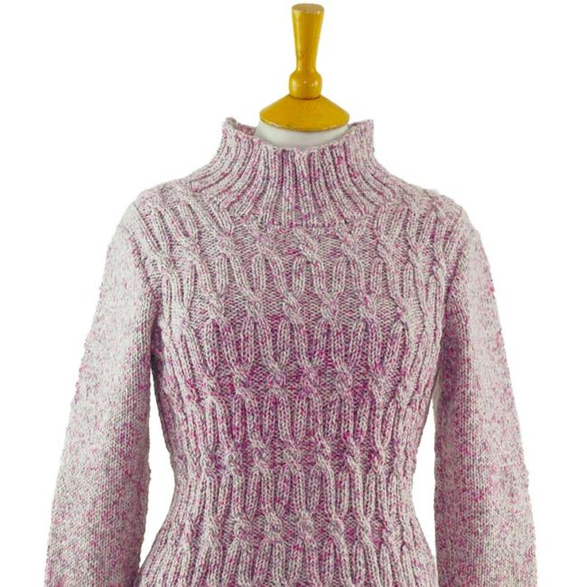 close up of 80s Lilac Funnel Neck Jumper