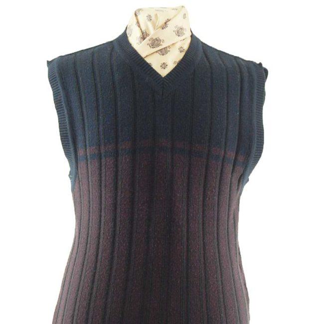 close up of 70s Black and purple V-neckline Vest