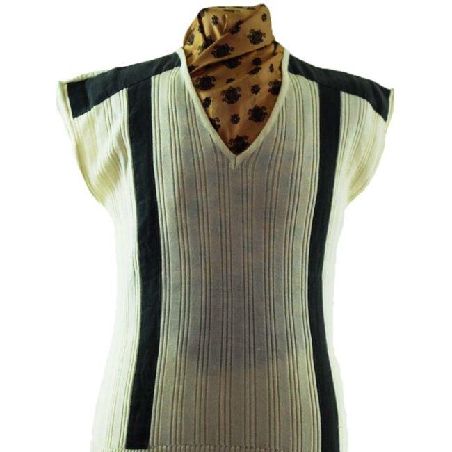 close up of 70s Cream Knit Vintage Vest