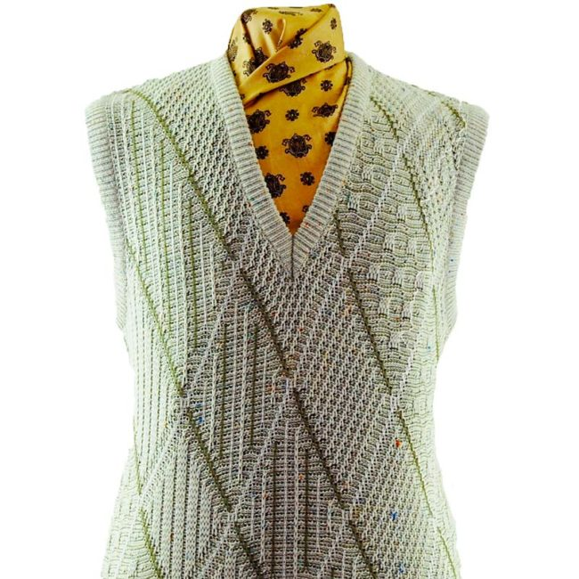 close up of 70s Crochet Argyll Patterned Vest